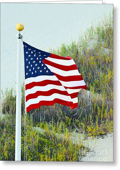 Greeting Card featuring the photograph Usa Flag by Gerlinde Keating - Galleria GK Keating Associates Inc