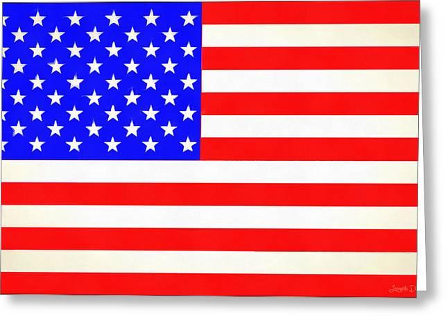 Usa Flag  - Vivid Free Style -  - Pa Greeting Card by Leonardo Digenio