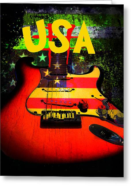 Greeting Card featuring the photograph Usa Guitar Music by Guitar Wacky