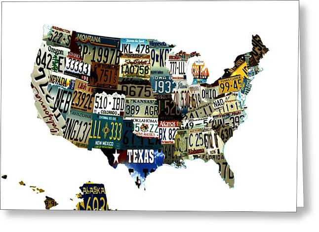 Usa License Tag Map Greeting Card by Brian Reaves