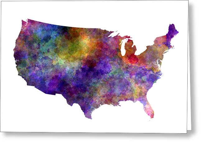 Usa Map In Watercolor  Greeting Card by Pablo Romero