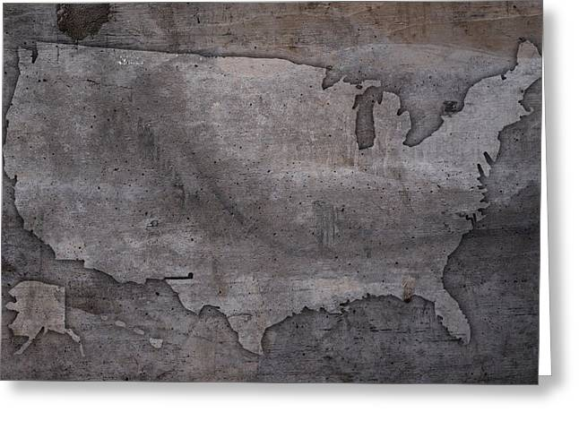 Usa Map Outline On Concrete Wall Slab Greeting Card by Design Turnpike