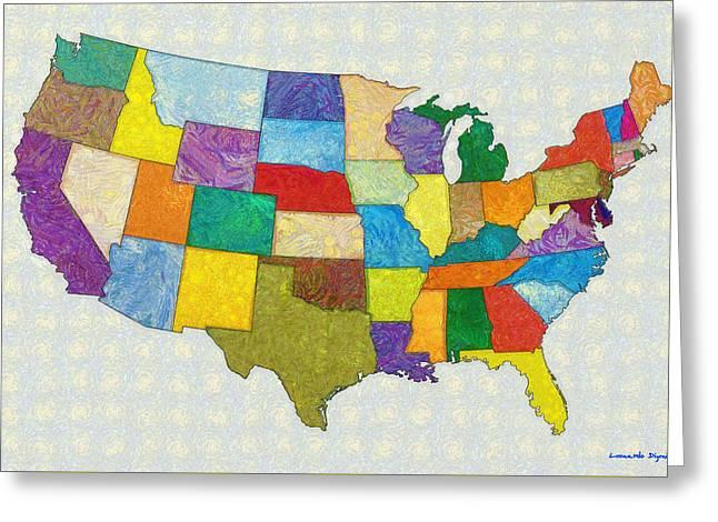 Usa Map - Pa Greeting Card by Leonardo Digenio