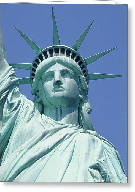 Usa, New York, Statue Of Liberty, Upper Section, Low Angle View Greeting Card