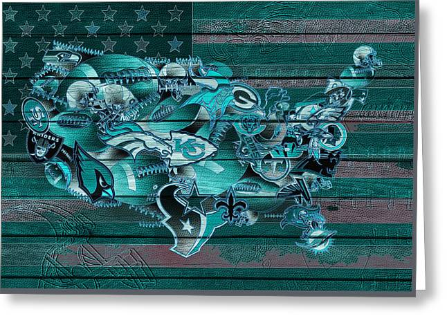 Usa Nfl Map Collage 3 Greeting Card by Bekim Art