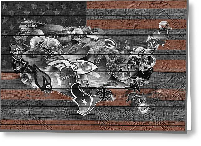 Usa Nfl Map Collage 4 Greeting Card by Bekim Art