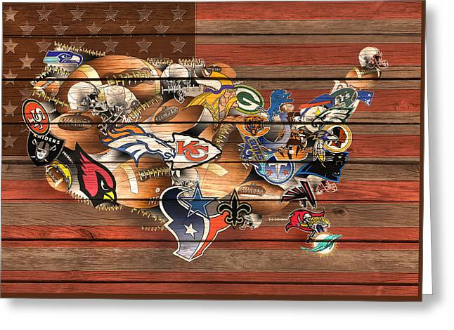 Usa Nfl Map Collage 6 Greeting Card by Bekim Art