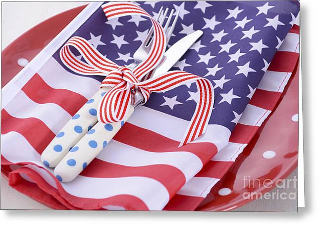 Usa Party Table Place Setting With Flag On White Wood Table.  Greeting Card by Milleflore Images