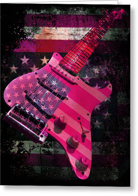 Greeting Card featuring the photograph Usa Pink Strat Guitar Music by Guitar Wacky