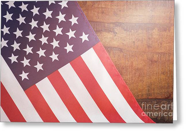 Usa Stars And Stripes Flag On Dark Wood Greeting Card by Milleflore Images