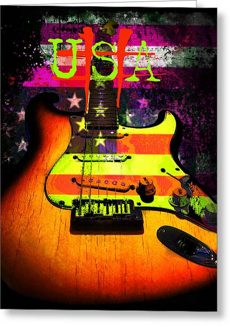 Greeting Card featuring the photograph Usa Strat Guitar Music by Guitar Wacky