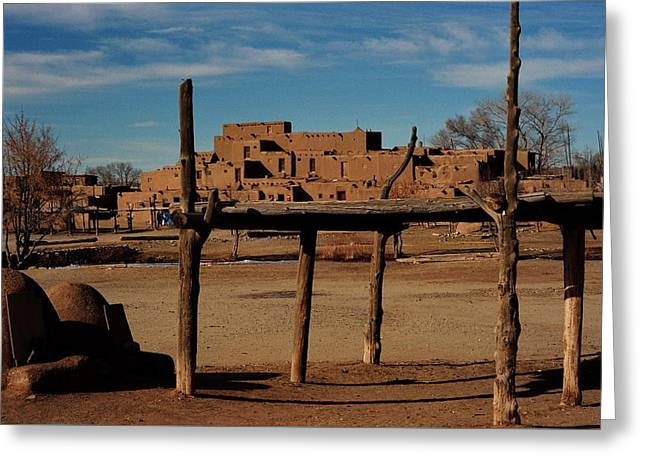 Usa - Taos Pueblo New Mexico Greeting Card by Jacqueline M Lewis