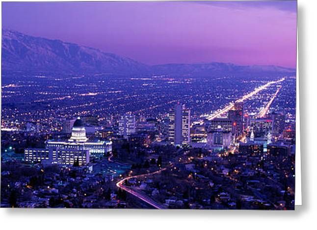 Usa, Utah, Salt Lake City, Aerial, Night Greeting Card