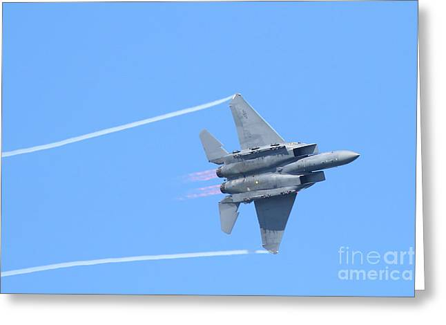 Fleet Week Greeting Cards - USAF F-15 Strike Eagle . 7D7864 Greeting Card by Wingsdomain Art and Photography