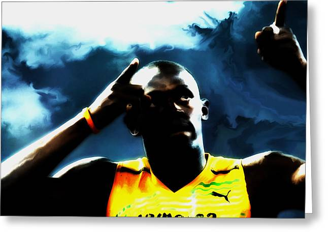 Usain Bolt 06c Greeting Card by Brian Reaves