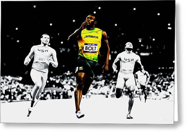 Usain Bolt 12e Greeting Card by Brian Reaves