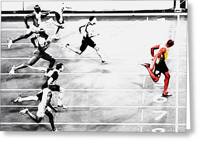 Usain Bolt Out Front Greeting Card by Brian Reaves