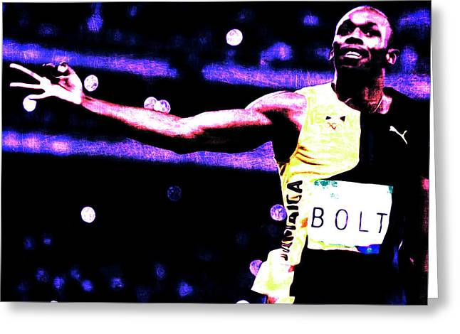 Usain Bolt Three Gold Medals Greeting Card by Brian Reaves