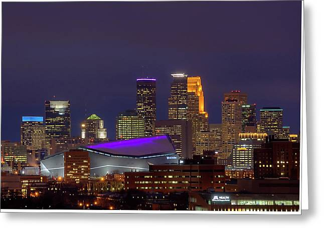 Usbank Stadium Dressed In Purple Greeting Card