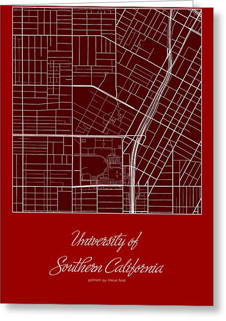 Usc Street Map - University Of Southern California Los Angeles M Greeting Card