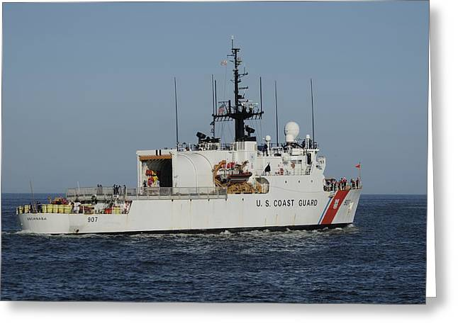 Uscgc Escanaba Heads To Sea Greeting Card