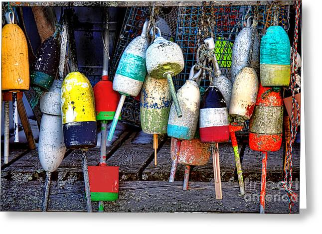 Used Lobster Trap Buoys Greeting Card by Olivier Le Queinec