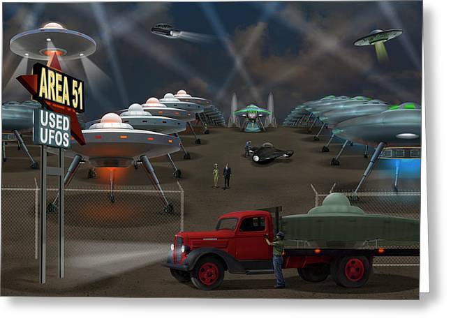 Area 51 Used U F O S Greeting Card by Mike McGlothlen