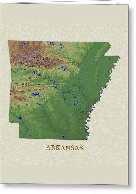 Usgs Map Of Arkansas Greeting Card