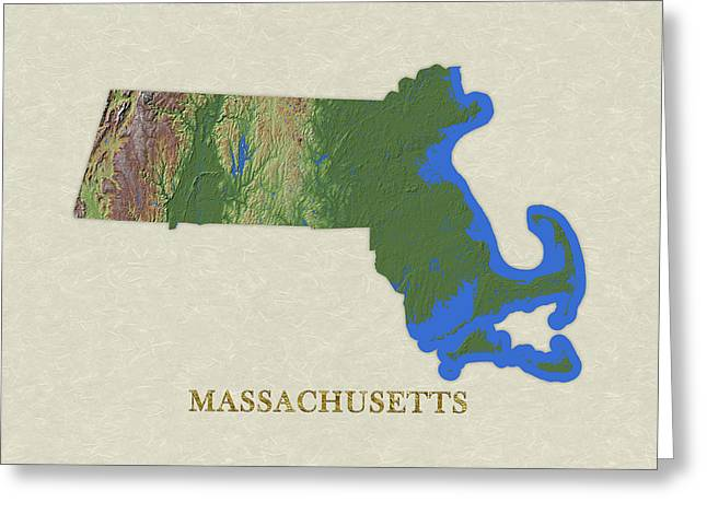 Usgs Map Of Massachusetts Greeting Card