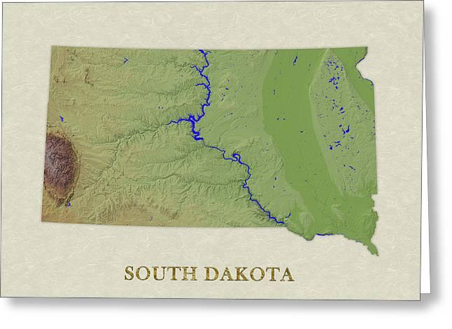 Usgs Map Of South Dakota Greeting Card by Elaine Plesser