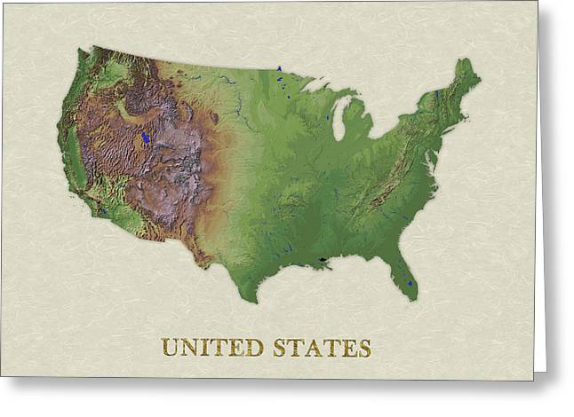 Usgs Map Of United States Greeting Card