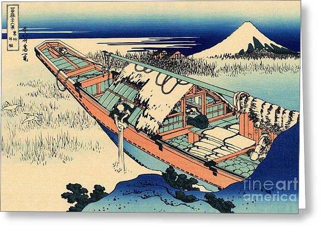Ushibori In The Hitachi Province Greeting Card by Hokusai