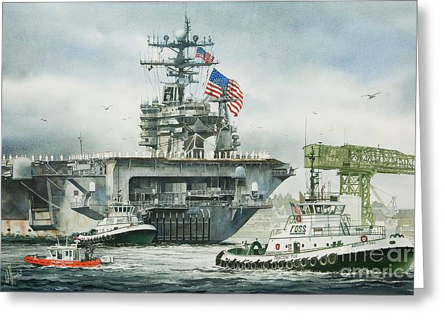 Uss Carl Vinson Greeting Card by James Williamson