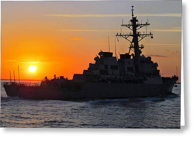 Uss Carney Ddg 64 At Sunset Mayport Fl Greeting Card