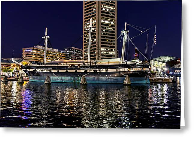 Uss Constellation - At Night Greeting Card by Brian Wallace