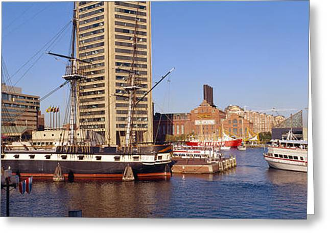 Uss Constellation, Inner Harbor Greeting Card by Panoramic Images