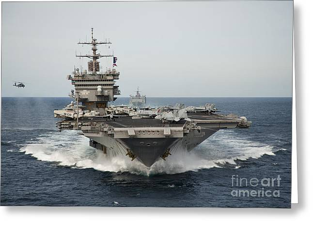 Carrier Greeting Cards - Uss Enterprise Transits The Atlantic Greeting Card by Stocktrek Images
