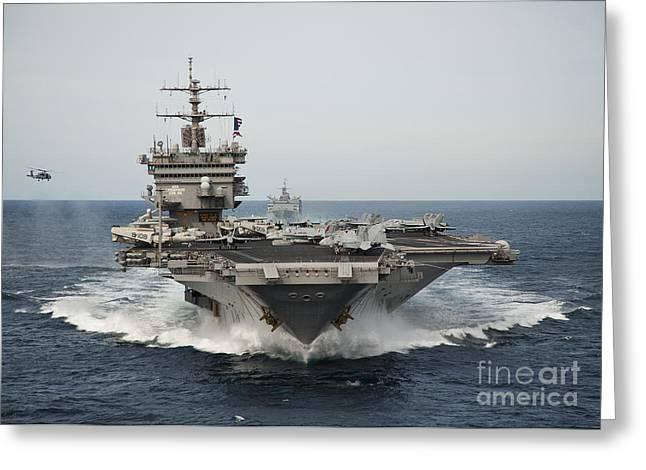 Uss Enterprise Transits The Atlantic Greeting Card
