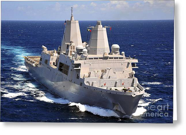 Transit Greeting Cards - Uss Green Bay Transits The Indian Ocean Greeting Card by Stocktrek Images