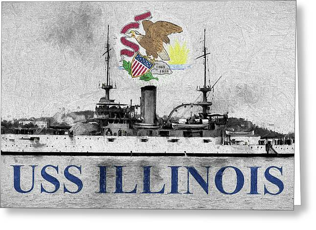 Uss Illinois Greeting Card by JC Findley