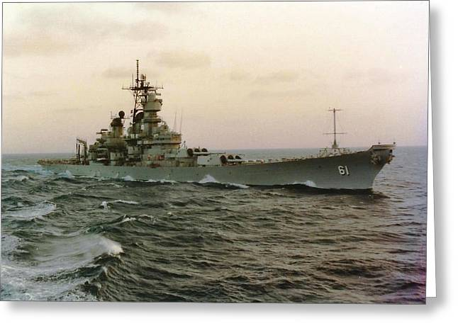 Uss Iowa At Sea In The Indian Ocean Greeting Card