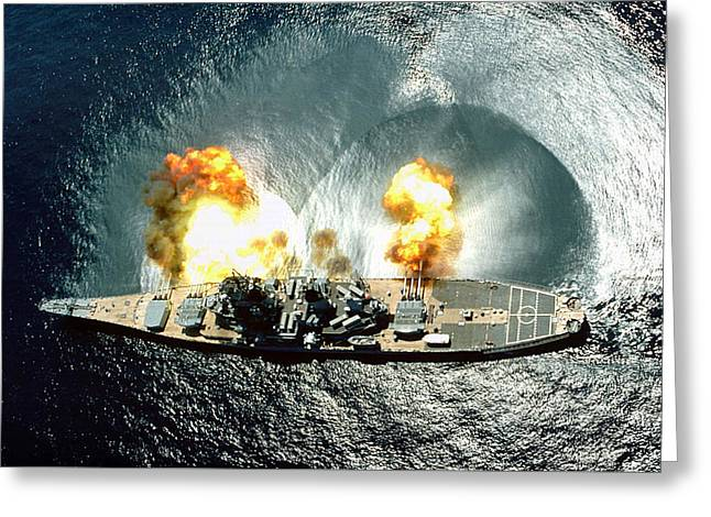 Uss Iowa Firing A Full Broadside Greeting Card by War Is Hell Store
