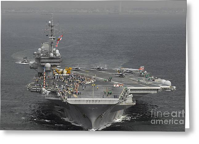 Uss Kitty Hawk Greeting Card by Stocktrek Images