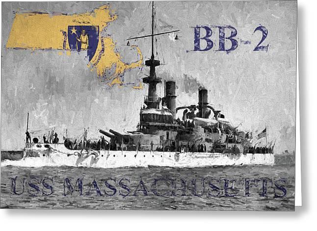 Uss Massachusetts B B-2 Greeting Card by JC Findley