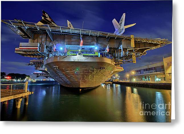 Uss Midway Aircraft Carrier  Greeting Card