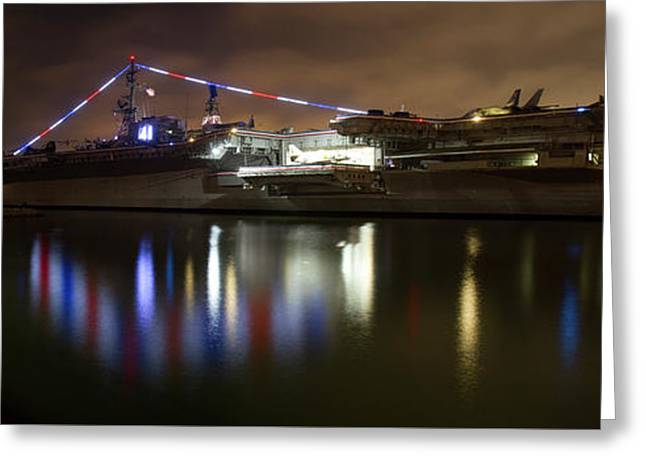 Greeting Card featuring the photograph Uss Midway At Night by Nathan Rupert