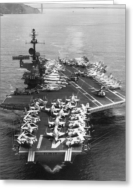 Uss Midway Leaves Sf Greeting Card by Underwood Archives