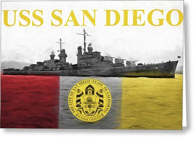 Uss San Diego Greeting Card by JC Findley
