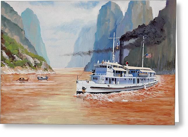 Pablo Greeting Cards - USS San Pablo On Yangtze River Patrol Greeting Card by Glenn Secrest