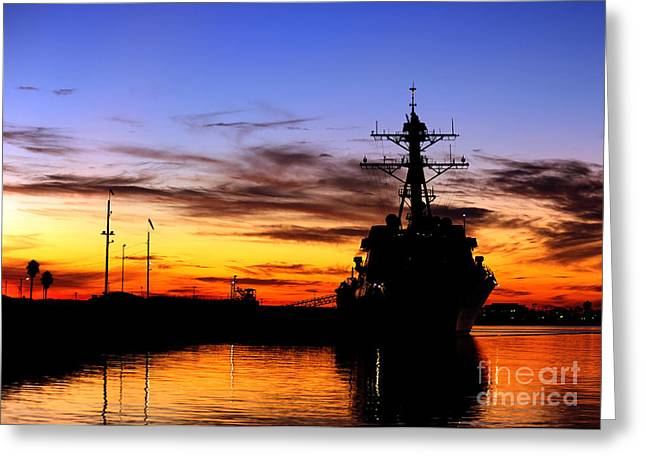 Uss Spruance Is Pierside At Naval Greeting Card